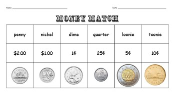 Canadian Money Match Cut and Paste