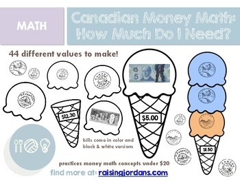 Canadian Money Math: How Much Do I Need? Ice Cream Stacks