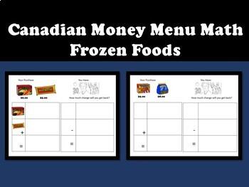 Canadian Money Menu Math- Frozen Foods