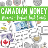 Canadian Money Names & Values Task Cards