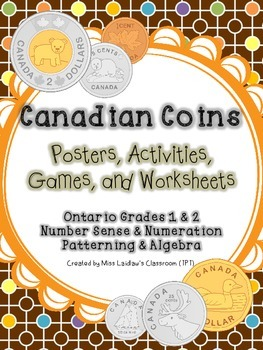 Canadian Money - Ontario Grades 1 and 2 Number Sense, Algebra {Differentiated}