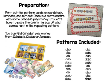 Canadian Money Pattern Cards
