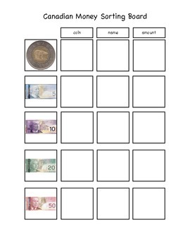 Canadian Money Sorting Board 1