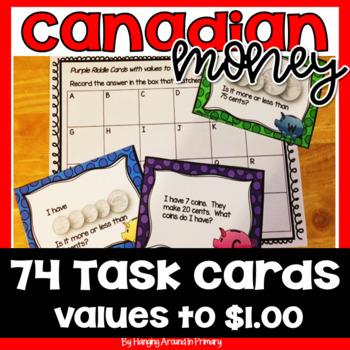 Canadian Money Task Cards Math Center