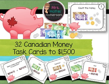 Canadian Money Task Cards, Up to $1,500