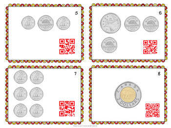 Canadian Coins Task Cards with QR Codes