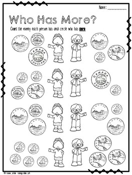 Canadian Money: Who Has More? Comparing Values Worksheets