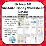 Grades 1-3 Canadian Money Worksheet Bundle - ONTARIO MATHE