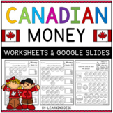 Canadian Money Coins Counting Worksheets Google Slides™ First Second Grade
