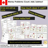 Canadian Money Worksheets  Count Add  Subtract Tasks and Word Problem Questions