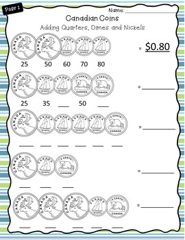 canadian money worksheets grade 2 3 by catch them learning tpt. Black Bedroom Furniture Sets. Home Design Ideas