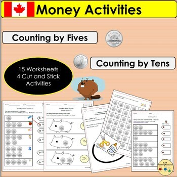 Canadian Money Worksheets/Activities Count by 5s by 10s Nickels and Dimes