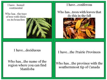Canadian Physical Geography Review Game: I Have Who Has