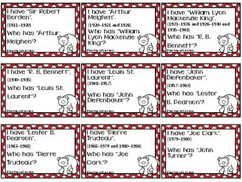 """Canadian Social Studies: Prime Ministers Group Card Game - """"I Have, Who Has?"""""""