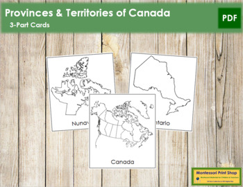 Canadian Provinces & Territories: 3-Part Cards (B/W)