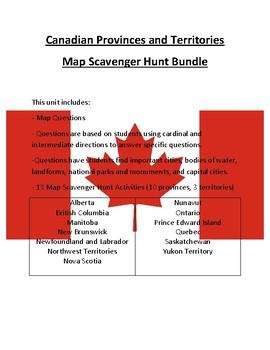 Canadian Provinces and Territories Map Scavenger Hunt