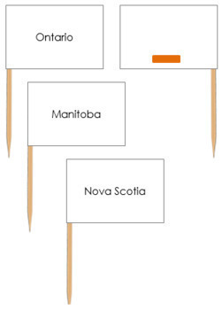 Canadian Provinces - Pin Map Flags (color-coded)