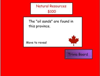 Canadian Provinces, Territories & Regions Smartboard Trivia Game Round 2