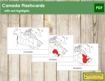 Canadian Provinces and Territories: Flash Cards (Red)