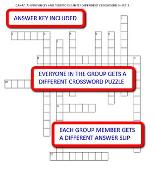 Canadian Provinces and Territories: Interdependent Crossword Puzzles Activity