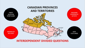 Canadian Provinces and Territories: Interdependent Divided Questions Activity