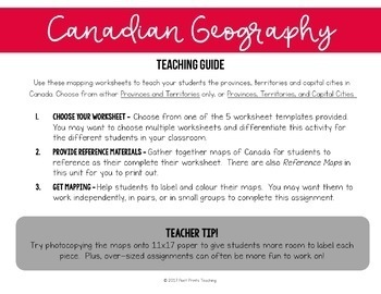 Canadian Provinces and Territories, Social Studies Worksheets