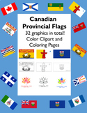 Canadian Provincial Flags in Colour and Coloring Sheets -