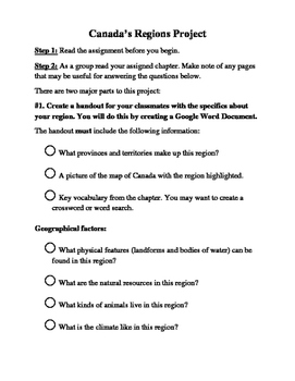 Canadian Regions Project with Checklist