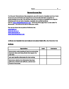 Canadian Remembrance day assignment NO PREP!