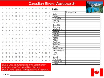 Canadian Rivers Wordsearch Sheet Starter Activity Keywords Geography Canada