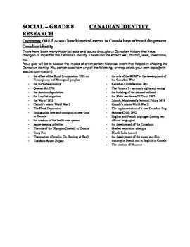 Canadian Social Studies - Canadian Identity Research Project