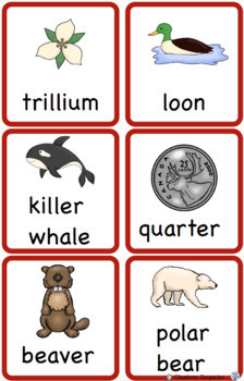 Canadian Symbols Vocabulary Cards