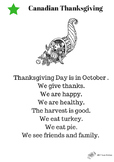 Canadian Thanksgiving Leveled Reading