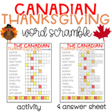 Canadian Thanksgiving Word Scramble