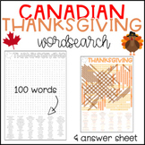 Canadian Thanksgiving Wordsearch