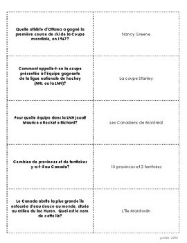 Canadian Trivia Cards - in FRENCH