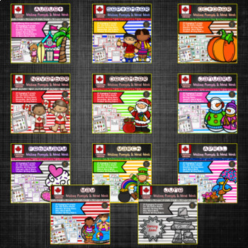 Year Long Canadian Writing Prompts and Word Work Activities Bundle