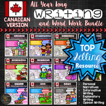 FLASH SALE Year Long Canadian Writing Prompts Word Work Bundle