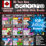 Year Long Canadian Writing Prompts Word Work Activities Bundle