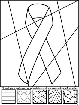 Breast Cancer Awareness Ribbon Coloring Sheet by Art with Jenny K