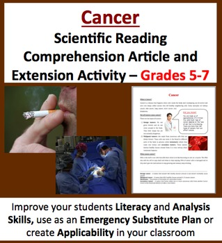 Cancer - Scientific Reading Comprehension Article – Grades 5-7