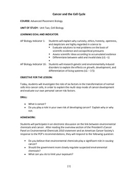 Cancer and the Cell Cycle complete 5-E lesson plan
