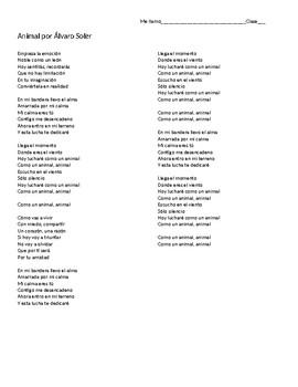 """Canción: """"Animal"""" by Alvaro Soler - IPA-like activity for future verbs"""