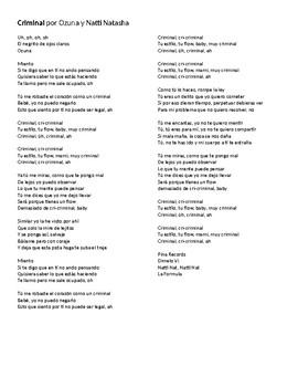 """Canción - """"Criminal"""" by Ozuna - Lyric activity and Cloze-passage quiz"""