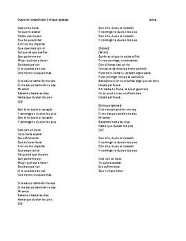 """Canción - """"Duele el corazón"""" IPA-like Activity and Listening Activity"""