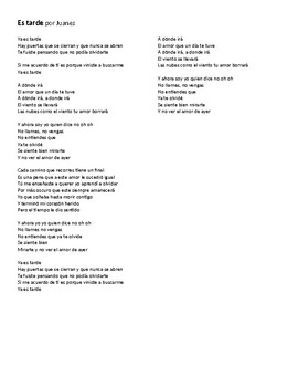"Canción - ""Es tarde"" by Juanes - Lyric Activity and Cloze Passage Quiz"