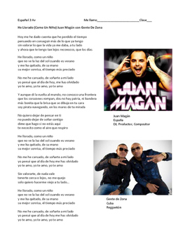 Canción:  He llorado - IPA activity with present perfect practice