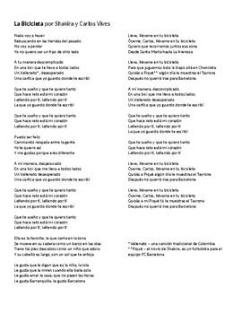 """Canción - """"La bicicleta"""" by Carlos Vives and Shakira - Lyric Activity and Quiz"""