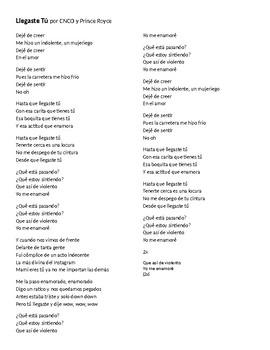 """Canción - """"Llegaste tú"""" by CNCO and Prince Royce - Lyric Activity and Quiz"""