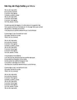 """Canción - """"Me voy de viaje solito"""" by Mera - Lyric Activity and Song Quiz"""